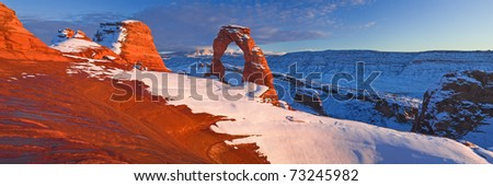 Delicate Arch is a 52 ft (16 m) tall[1] freestanding natural arch located in Arches National Park near Moab, Utah. It is the most widely-recognized landmark in Arches National Park - stock photo