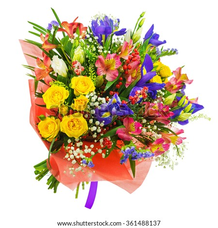 Delicate beautiful bouquet of roses, iris, alstroemeria, nerine and other flowers in red  packaging with violet tape isolated on white background. - stock photo