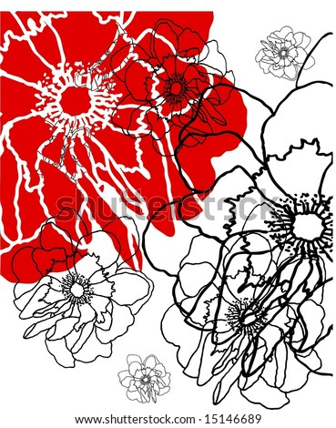 Delicate floral grunge background pattern with silhouettes of rose flowers in red and black on white - stock photo