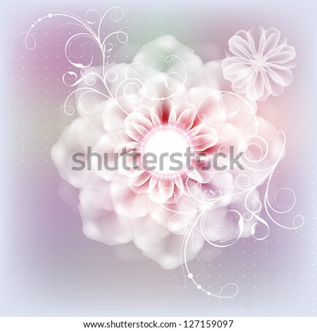 Delicate floral postcard with a wedding day. Raster copy of vector image - stock photo