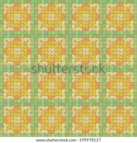 Delicate green and yellow seamless geometric texture made of quadrates - stock photo