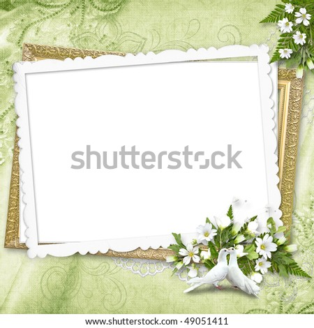 Delicate green frame with white pigeons - stock photo