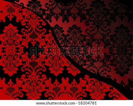 Delicate lacy Victorian pattern in black and red - stock photo