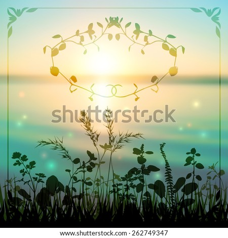Delicate nature background with a silhouette of grasses by the river at sunset with a decorative floral border. - stock photo