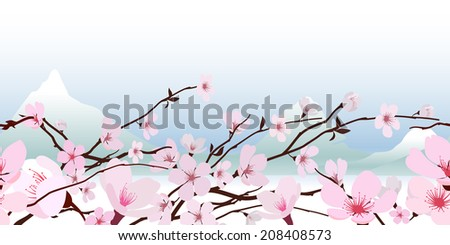 Delicate pink fresh spring Japanese flowering cherry blossom in a horizontal pattern with a backdrop of snowy mountain peaks against a pastel blue sky illustration - stock photo