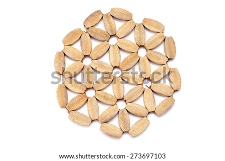Delicate products made from pieces of bamboo related in the form of a flower - stock photo