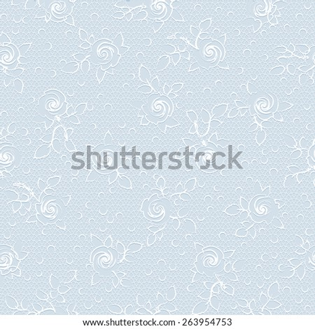 Delicate vintage floral seamless pattern with white rose ornament on a light blue lace background - stock photo