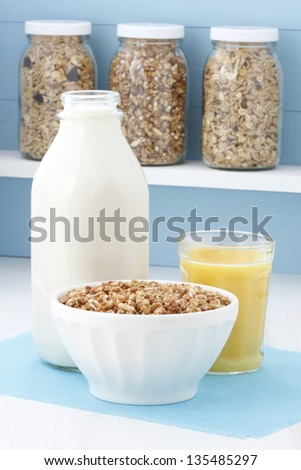 Delicious and healthy crunchy oats cereal, popular around the world. - stock photo