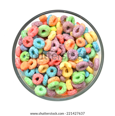 Delicious and nutritious fruit cereal loops flavorful in glass bowl on white background  - stock photo