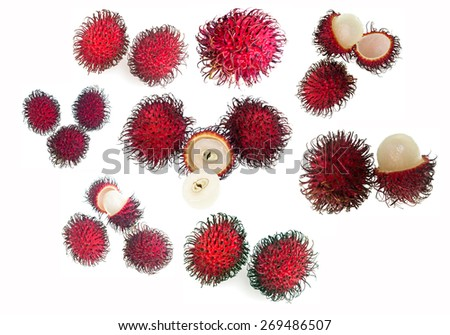 Delicious and sweet fresh rambutan. Rambutan (Nephelium lappaceum) is a tropical fruit native to Philippines, Malaysia and other regions of tropical Southeast Asia. - stock photo