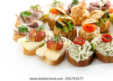 Delicious Appetizer Cheese Canapes. Selective Focus - stock photo