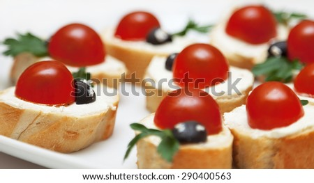 Delicious appetizer with bread and tomatoes. Shallow depth of field - stock photo