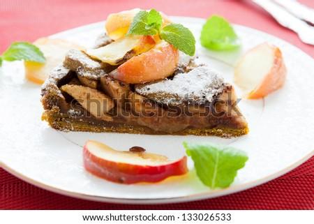 delicious apple pie with apple slices, closeup - stock photo
