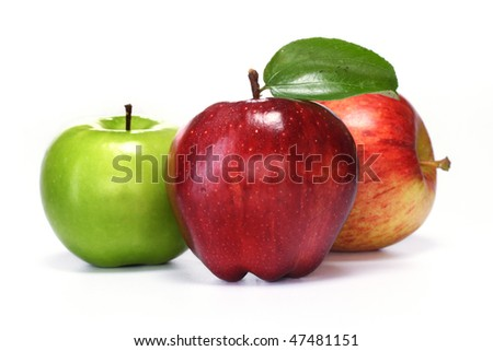 Delicious apples  on white - stock photo