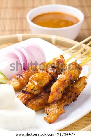 Delicious Asian Cuisine Chicken Satay - stock photo