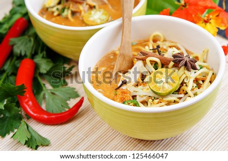 Delicious Asian noodles on bamboo mat with focus pointed in front of dish and shallow DOF - stock photo
