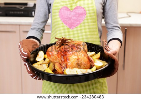 Delicious baked chicken in hands close-up - stock photo