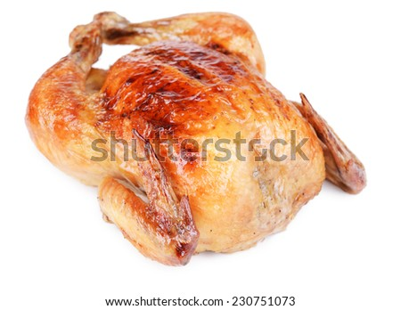 Delicious baked chicken isolated on white - stock photo