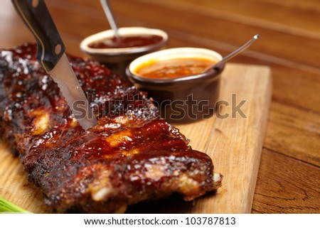 delicious BBQ ribs - stock photo