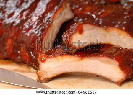 Delicious BBQ ribs with  a tangy sauce - stock photo