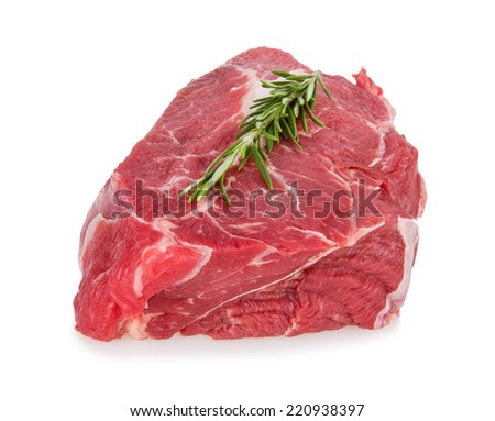 Delicious Beef steak on white background, close-up - stock photo