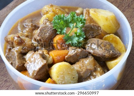 Delicious Beef Stew in a Food Container for storage - stock photo