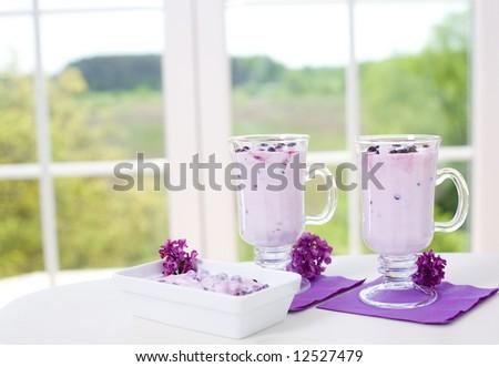 Delicious berry milkshake. - stock photo