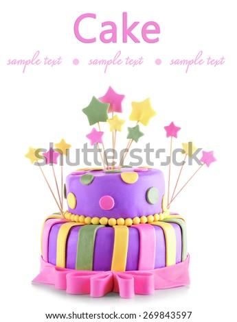 Delicious birthday cake isolated on white - stock photo