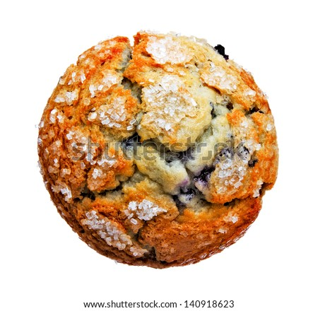 Delicious Blueberry Muffin from Top View Isolated on White Background - stock photo