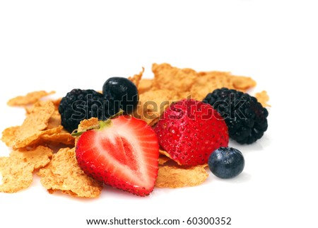 Delicious Bran breakfast cereal with fresh fruit - stock photo