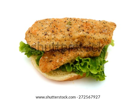 delicious breaded fish sandwich on white background  - stock photo