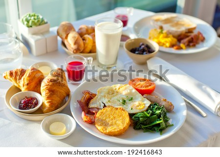 delicious breakfast for two at the luxury hotel - stock photo