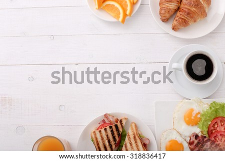 Delicious breakfast on the table - stock photo