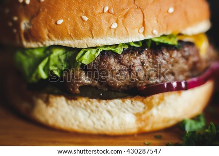 Delicious burger with meat, cheese, lettuce and french fries on a dark background - stock photo