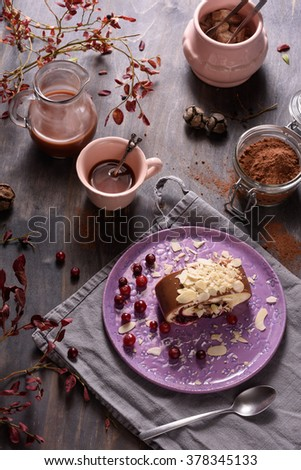 Delicious cake and cup of coffee on wooden background.  - stock photo