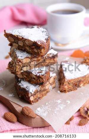 Delicious cake panforte on table close-up - stock photo
