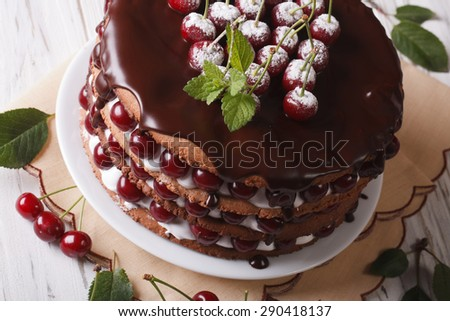 Delicious cake with fresh cherries and chocolate on the plate closeup. horizontal selective focus  - stock photo