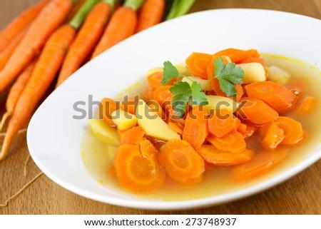 delicious carrot soup - stock photo