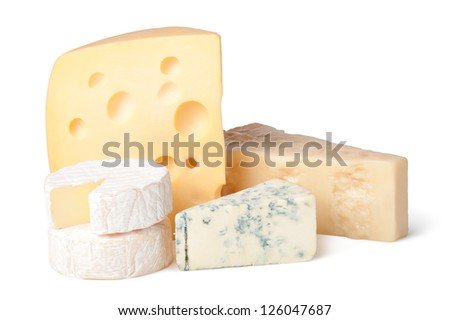 delicious cheese on a white background - stock photo