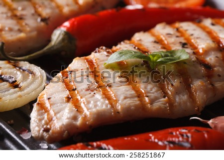 Delicious chicken with peppers and onions in a pan grill macro. horizontal - stock photo
