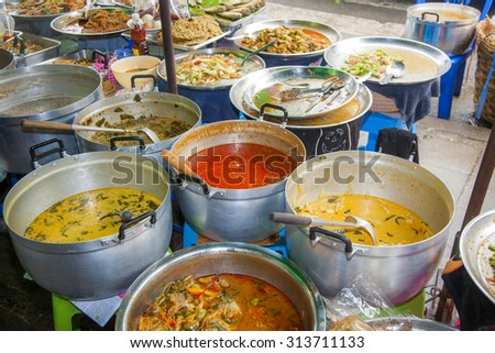 delicious chinese food at the night market in Chinatown, Bangkok - stock photo