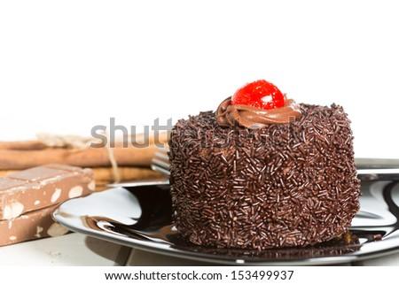 Delicious chocolate cake black - stock photo
