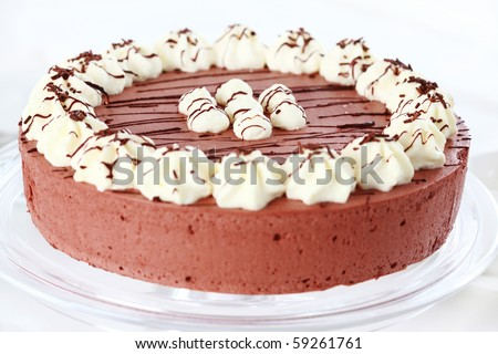 Delicious chocolate cake garnished with cream - stock photo