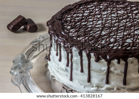 Delicious chocolate cake with creamy cream and chocolate candies - stock photo