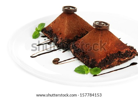 Delicious chocolate cakes isolated on white - stock photo