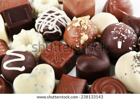 Delicious chocolate candies close-up - stock photo