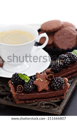 Delicious chocolate ganache tart with fresh blackberries - stock photo
