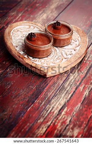 delicious chocolate mousse for two - sweet food - stock photo