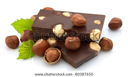 Delicious chocolate with nuts closeup - stock photo
