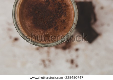 Delicious cocktail with chocolate powder - stock photo